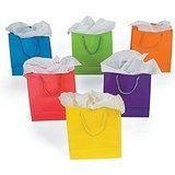 1 Dz Paper Gift Bags - Medium 9 Inch - 12 Bags Per Order -BRIGHT NEON SOLID