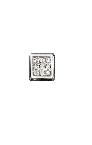14K White Gold Square Tie Tac With .10 Ct. Diamonds-88814