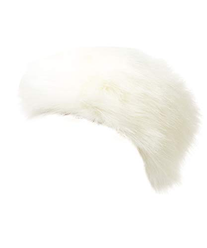 Lucky Leaf Cozy Warm Hair Band Earmuff Cap Faux Fox Fur Headband with Stretch for Women (B1-Pure White)