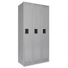 Tennsco Single Tier Three Locker Unit, 36w x 18d x 72h, Medium Gray (TNN110270) Category: Lockers