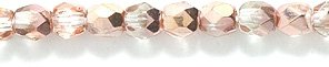 Preciosa Czech 3mm Fire-Polished Glass Bead, Faceted Round, Crystal Half Metallic Golden Copper, 300/pack Shipwreck Beads 3FC854