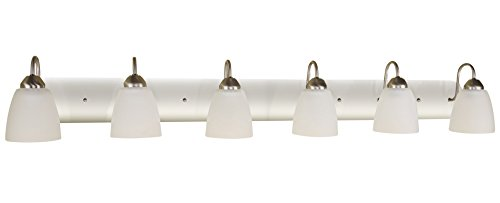 """Kira Home Armada 48"""" 6-Light Modern Vanity/Bathroom Light with Brushed Nickel Finish and Frosted Glass Shades - MODERN STYLE: 6-light vanity light featuring white frosted glass shades and a brushed nickel finish. The versatile design of this bright fixture allows it to be able to shine light up or down, illuminating any space you wish DIMENSIONS: Vanity Light: 7.5"""" (H) x 48"""" (L) x 7"""" Projection from wall, Shade: 4.75"""" (H) x 4.5"""" (D), Back plate: 4.5"""" (H) x 0.75"""" (W) x 48"""" (L). Dimmer compatible UL LISTED FOR YOUR SAFETY: UL listed for damp locations. Uses (6) LED, CFL, or up to 60W traditional incandescent medium base bulbs. Bulbs sold separately - bathroom-lights, bathroom-fixtures-hardware, bathroom - 21TKzhe5XeL -"""