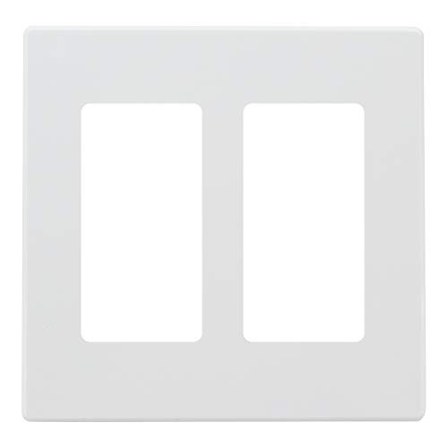 (ESD Tech Switch Wall Plate, 2-Gang Screwless Outlet Cover, White Decorator, Standard Size Faceplate. Fits Paddle/Rocker Receptacles. Unbreakable, UL Listed)