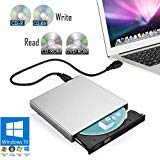 External CD/DVD Drive for Laptop PC & Notebook Windows 10 - USB Optical Slim Combo Writer Burner for CD-R (24x Speed) & CD-RW (8X Speed) – Reader Player for CD-ROM (24x) & DVD-ROM (8X) (Silver)