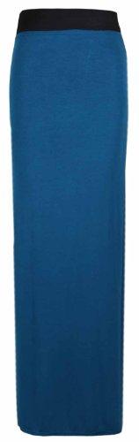 Longue Femme Maxi Purple Et Bleu lastique Uni Taille Contraste Hanger Jupe tTnpq
