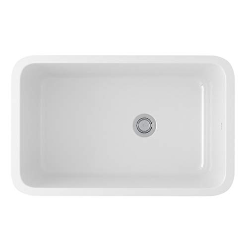 - Rohl 6307-00 FIRECLAY KITCHEN SINKS, 31-1/8-Inch by 19-5/8-Inch by 11 Inch, White