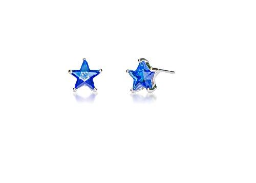 Surgical Stainless Steel Studs Earrings Little Girl - Women Star Shape Birthstone Cubic Zirconia Hypoallergenic (Star Shape Jewel)