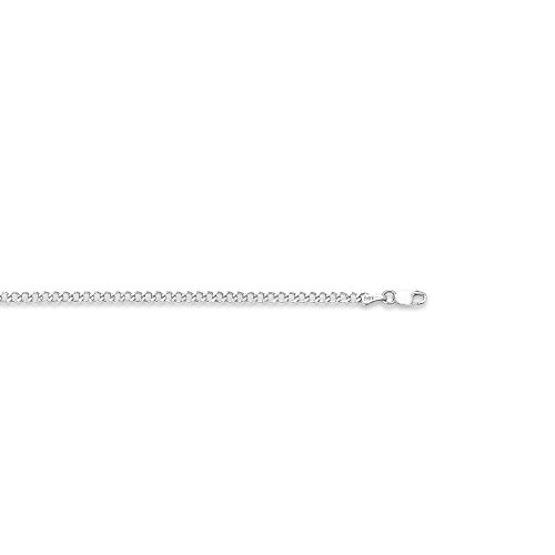 14k White Gold 10 Inch Polish Finish Confort Curb Anklet Bracelet by Diamond Sphere