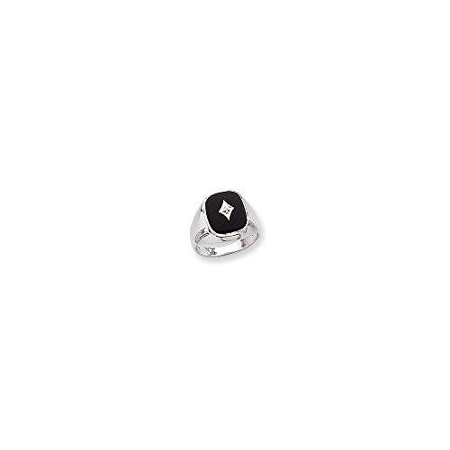 Mens Ring Mounting (14k White Gold Polished Mens Diamond And Onyx Ring Mounting)