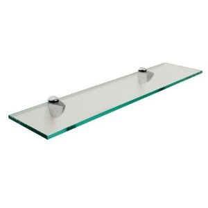 rectangle floating glass shelf 6 x 24 with brush nickel brackets - Floating Glass Shelves