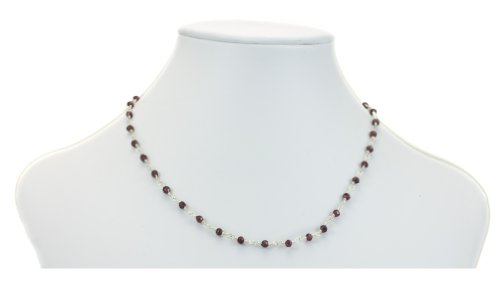Silver Faceted Garnet Necklace (Sterling Silver Red Garnet Necklace Faceted Rondelles Beaded Silvertone Wired Chain)