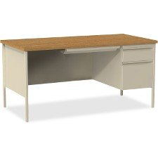 Lorell Single Right Pedestal Desk, Putty Oak, 66 by 30 by 29-1/2-Inch