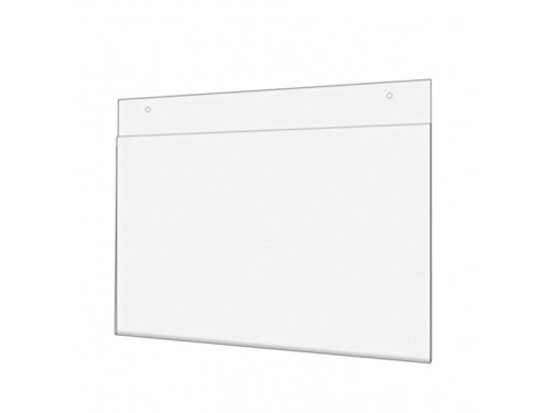 Marketing Holders Wall Mount 14'' w x 8.5'' h Sign Holder with Screw Holes Great for Ads Photo Notice Clear Acrylic Signs Qty 5 by Marketing Holders