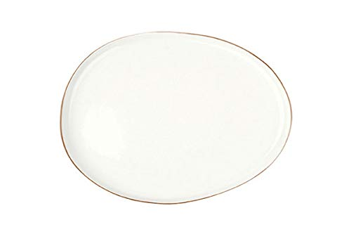 Canvas Home Abbesses Porcelain Serving Platter, Hand-Glazed Porcelain Serving Tray with Hand Painted Rim (Small, Solid White with Gold Rim)