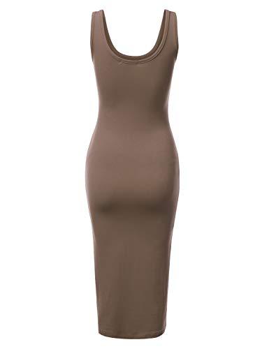 Womens Dress Cwdmd132 brown Sizes Doublju with Midi Tank Sleeveless Bodycon Plus qXxxBwa7d