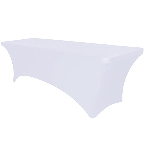 Surmente Tablecloth 6 ft. Rectangular Spandex Table Cover Tight for Weddings, Banquets, or Restaurants(White) ...