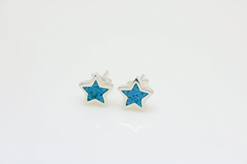 Star-shaped Turquoise Micro Mosaic Sterling Silver Stud Earrings, Semi Precious Gemstone by Handmade Studio - Coral Turquoise Stud