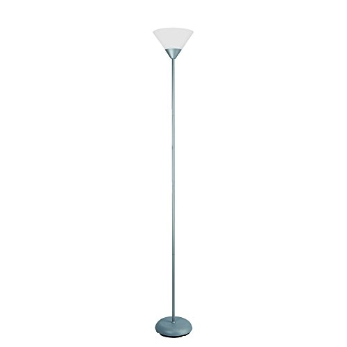 "Simple Designs Home LF1011-SLV 1 Light Stick Torchiere Floor Lamp, 8.67"" x 8.67"" x 71"", Silver"