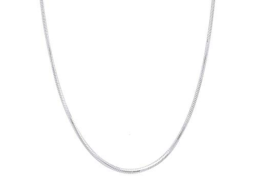 Verona Jewelers Sterling Silver 2MM, 2.5MM, 3MM, 4MM, 5MM Solid Round Snake Chain Necklace- Flexible Snake Chain Necklace, Round 925 Sterling Silver Necklace (16, ()