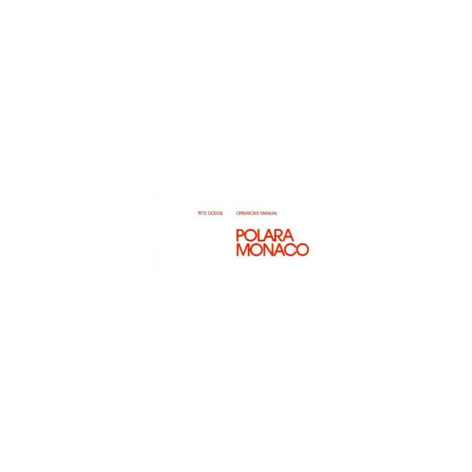 1972 DODGE POLARA MONACO Owners Manual User Guide