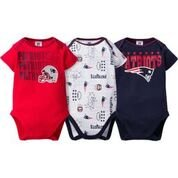 NFL New England Patriots Boys Short Sleeve Bodysuit (3 Pack), 6-12 Months, Navy