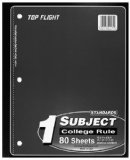 Tf 1sub Ntbk Wrls Cr Size 80 Ct Top Flight Wireless 1 Subject College Ruled Notebook, 8.5 X 10.5