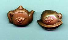 2 pc. Chocolate Mini Teapot and Cup Favor - 5 packs