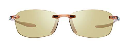 Revo Polarized Sunglasses Descend E Rectangle Frame 64 mm Rimless, Blush (682), Champagne
