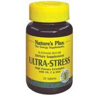 Natures Plus Ultra-Stress with Iron - 30 Vegetarian Tablets, Sustained Release - Stress Relief Supplement with B Complex and Vitamin C, Energy Booster, Mood Enhancer - Gluten Free - 30 Servings