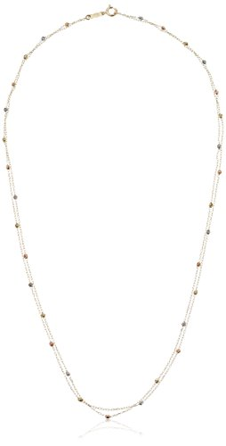 Tri 14k Gold Stone - 14k Tri Colored Gold Stationed Tiny Beaded Three Stone Neckalce, 18