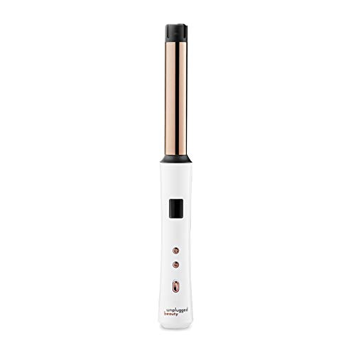 Unplugged Beauty Cordless 1 Inch Curling Wand Hair Styling Hair Styling Tools Titanium Wand White Rose Gold