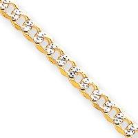 4,5mm Chaîne gourmette Pave 14carats Bracelet-Longueur Options: 18-20