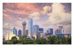 Ambesonne United States Doormat, Dallas City Skyline at Sunset Clouds Texas Highrise Skyscrapers Landmark, Decorative Polyester Floor Mat with Non-Skid Backing, 30 W X 18 L Inches, Multicolor ()