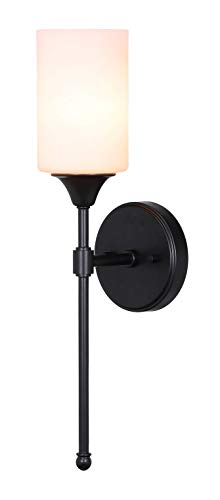 XiNBEi Lighting Wall Sconce, Bathroom Vanity Light with Glass, Wall Fixture Matte Black Finish for Bathroom XB-W1216-MBK