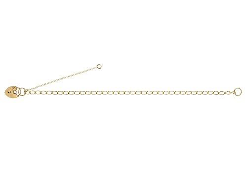 """Pour Bracelet Charms Coeur Amour Cadenas chaîne à maillons Gourmette Or jaune massif 9ct-17,8cm """"/18cm-Largeur: 3mm/épaisseur"""