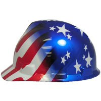 MSA V-Gard Cap Style Patriotic Hard Hat with American Stars and Stripes- One Touch Suspension
