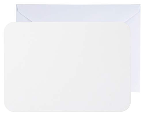 48-Pack Blank Invitation Cards - Plain White Cardstock Postcard Style Notecard - Rounded Corners, Envelopes Included for DIY Holiday Cards, Business, Invitation, Birthday, Wedding, White, 5 x 7 Inches