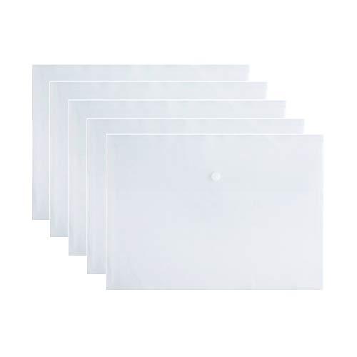 - VANRA Poly File Folder Pockets File Jacket Plastic Envelope Flat Document Letter Organizer with Snap Button Closure A4 Letter Size (Pack of 5, Translucent)