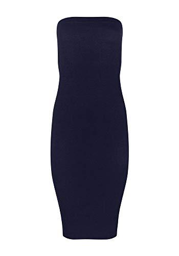 FASHION BOOMY Women's Strapless Stretchy Comfort Basic Midi Tube Bodycon Dress (Large, Navy) ()