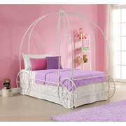 Metal Twin Carriage Bed, White FRAME ONLY Requires a foundation or box spring