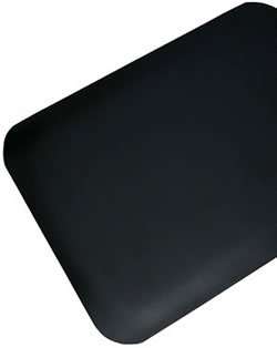 """Antifatigue Mat / Commercial Industrial Floormat - """"AirLift Plus with SmoothShield"""" - 02' x 03' - 1/2"""" Thick - Black PVC Surface"""