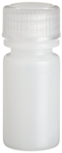 Wheaton 209041 HDPE Leak Resistant Narrow Mouth Bottle, 0.1oz With 13-425 Screw Cap, Natural, 16mm Diameter x 38mm Height (Case Of (0.1 Ounce Case)