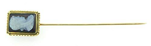 14k Gold Black and White Genuine Natural Stone Agate Cameo Stick Pin (#J4231) ()