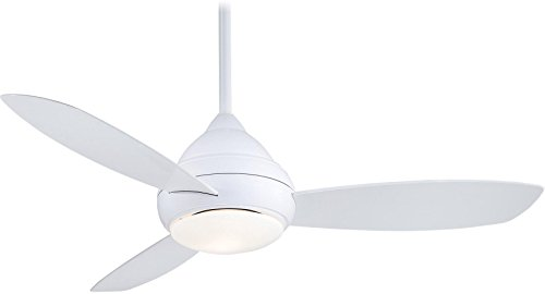 Minka Lavery F476-WH Protruding Mount, 3 white Blades Ceiling fan with 51 watts light, White