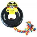 Tirebiter Paw Track Rubber Toy W/Cotton Rope Lrg