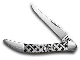 (CASE XX White Pearl Corelon Basketweave 1/600 Toothpick Pocket Knife Knives)