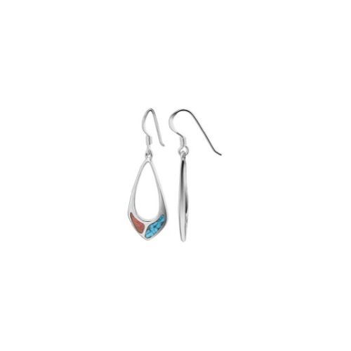 925 Sterling Silver Turquoise and Coral Inlay Southwestern Style Dangle Earrings Frech Hook Back Findings