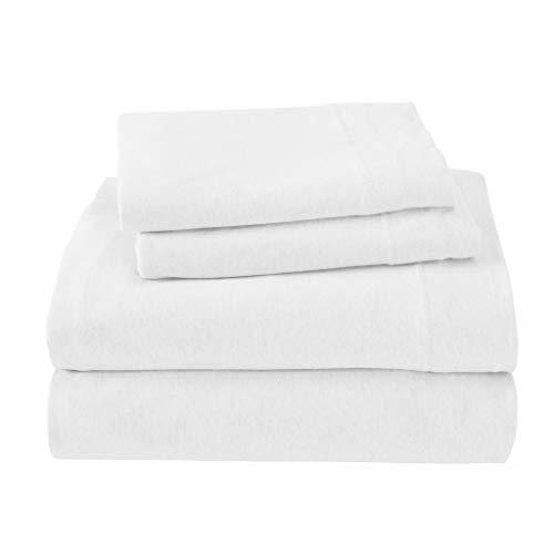 (Royale Linens Soft Tees Cotton Modal Jersey Knit Sheet Set Queen White)