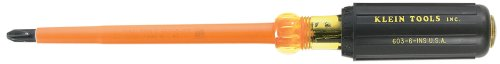 Klein Tools 603-4-INS #2 Phillips Insulated Screwdriver with 4-Inch Shank (Inch 4 Screwdriver Phillips)