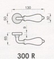 MARTA 300 R Poign/ée de porte en porcelaine Ivoire Bronze bross/é mat